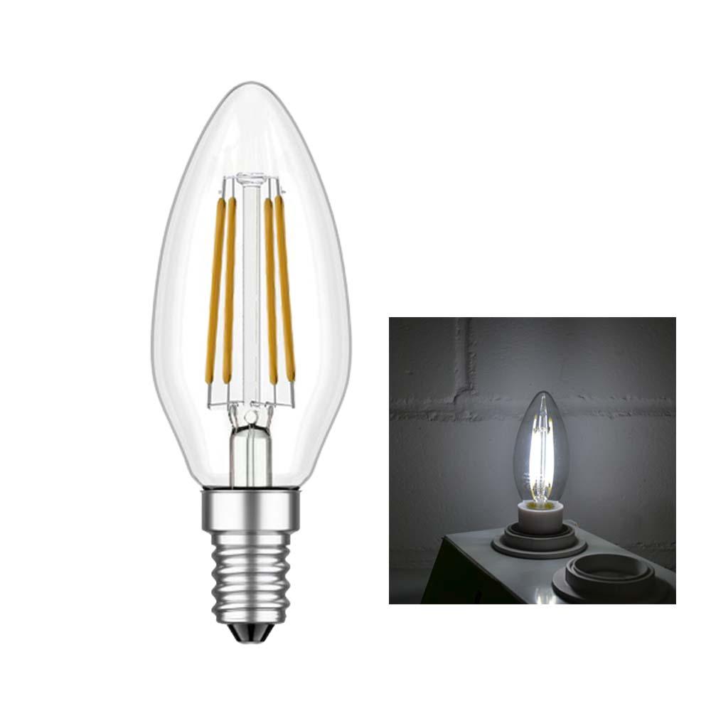 led lampe kerze filament 4w 500lm e14 warmweiss kaltweiss leuchtmittel dimmbar ebay. Black Bedroom Furniture Sets. Home Design Ideas