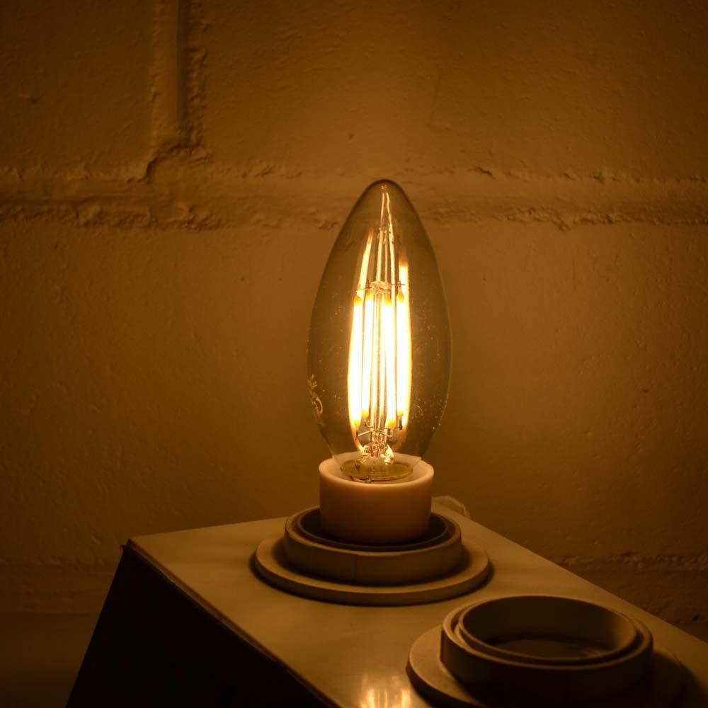 led lampe kerze filament 4w 500lm e14 warmweiss kaltweiss leuchtmittel dimmbar ebay. Black Bedroom Furniture Sets. Home Design Ideas